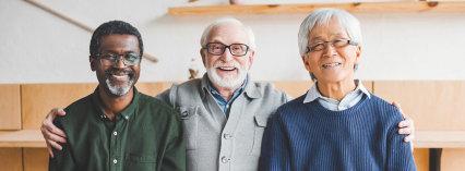 three seniors smiling